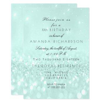 glitter delicate pastel aqua bridal invitation