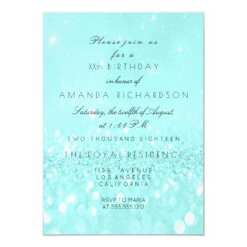 glitter delicate pastel turquoise ocean invitation