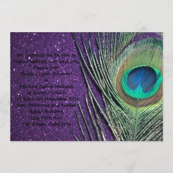 glittery purple peacock wedding invitation