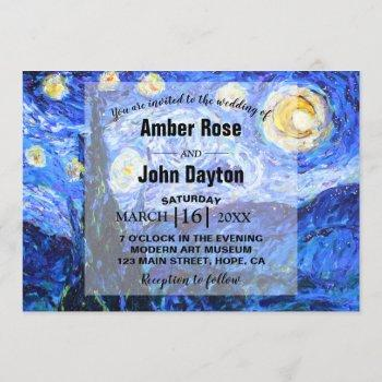 glittery starry night custom wedding invitation