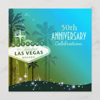 glitzy las vegas 50th wedding anniversary invitation