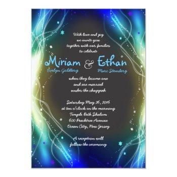 glowing neon stars jewish wedding invitation
