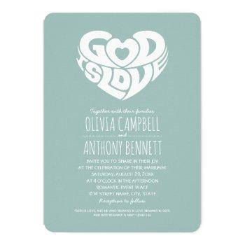 god is love bible verse christian wedding invitation