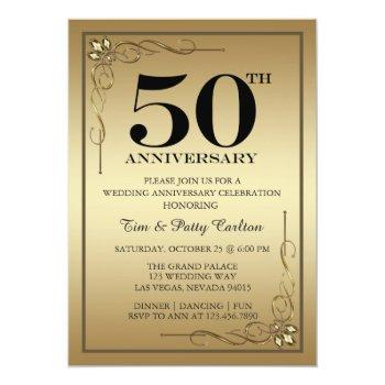 Small Gold 50th Wedding Anniversary Party Invitation Front View