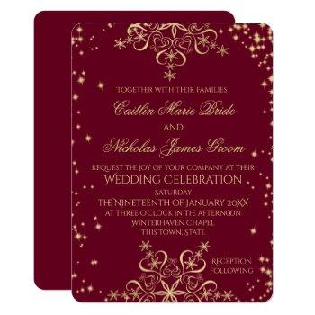 gold and burgundy winter wedding snowflakes invitation
