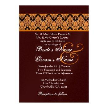 gold and chocolate damask wedding metallic paper invitation