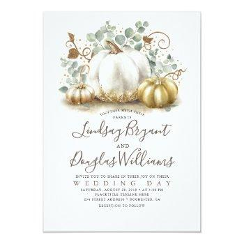 Small Gold And White Pumpkins Rustic Modern Fall Wedding Invitation Front View