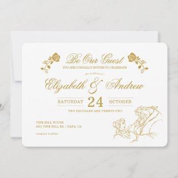 gold beauty and the beast fairy tale wedding save the date
