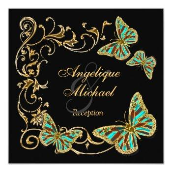 gold black butterfly reception wedding engagement invitation