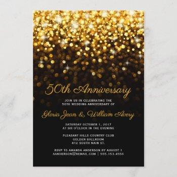 gold black hollywood glam 50th wedding anniversary invitation