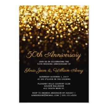 gold black hollywood glam 50th wedding anniversary invitation