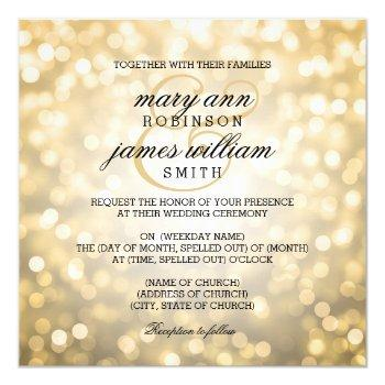 gold bokeh lights elegant wedding invitation
