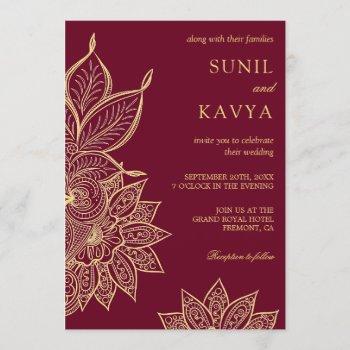gold burgundy mehendi henna indian wedding invitation