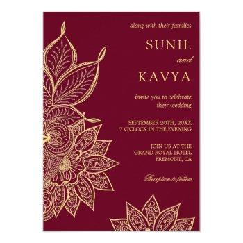 gold burgundy mehendi henna indian wedding invitation