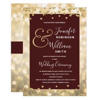 gold champagne burgundy elegant wedding invitation