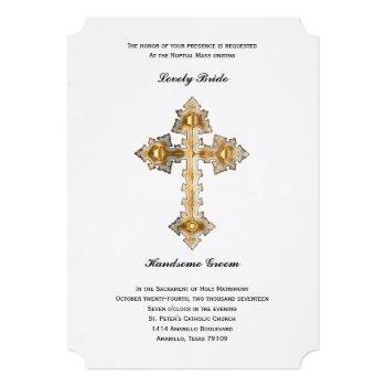 gold cross catholic wedding invitation