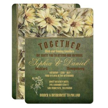 gold daisies on sage wedding invitations