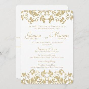 gold damask emblem wedding invitation