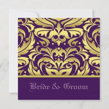 gold damask & purple elegant wedding invitation