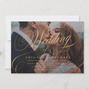 gold elegant classic calligraphy photo wedding invitation