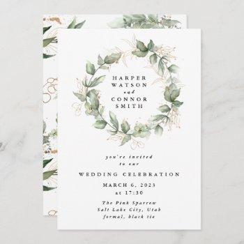 gold eucalyptus wedding wreath greenery moss sages invitation
