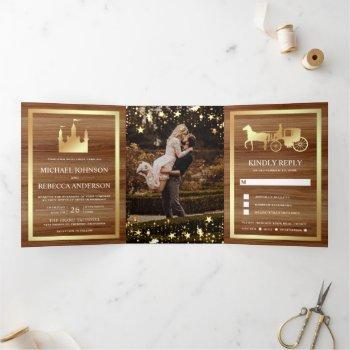 gold fairytale castle princess carriage wedding tri-fold invitation