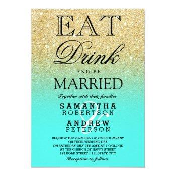 gold faux glitter aqua teal ombre script wedding invitation