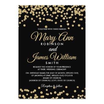 Small Gold Faux Glitter Confetti Elegant Wedding Black Invitation Front View