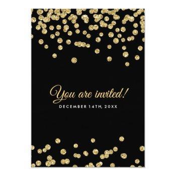 Small Gold Faux Glitter Confetti Elegant Wedding Black Invitation Back View