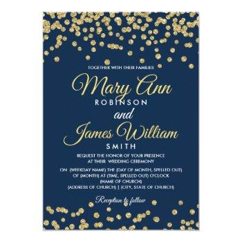 gold faux glitter confetti elegant wedding navy invitation