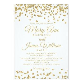 Small Gold Faux Glitter Confetti Elegant Wedding White Invitation Front View