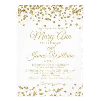 gold faux glitter confetti elegant wedding white invitation