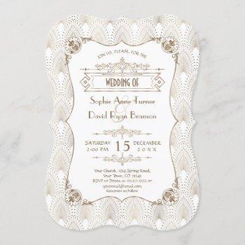 gold fleur-de-lis great gatsby 20s style wedding invitation