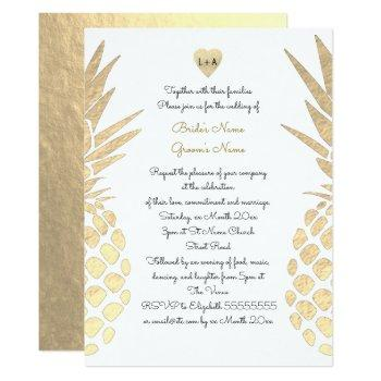 gold foil look pineapple tropical summer wedding invitation