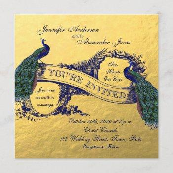 gold foil peacock wedding invitation