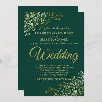 gold frills simple chic emerald green wedding invitation