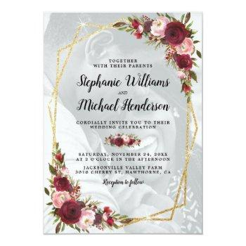 Small Gold Geometric Burgundy Floral Photo Wedding Invitation Front View