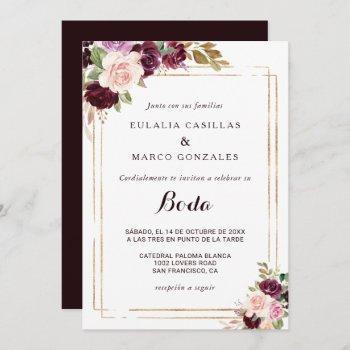gold geometric burgundy floral spanish wedding invitation