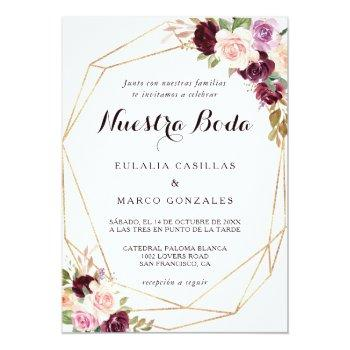 Small Gold Geometric Burgundy Floral Spanish Wedding Invitation Front View