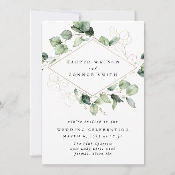 gold geometric eucalyptus elegant greenery moss invitation
