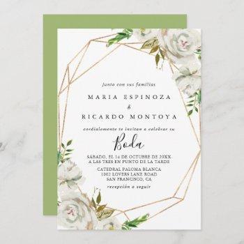 gold geometric peony floral spanish wedding invitation