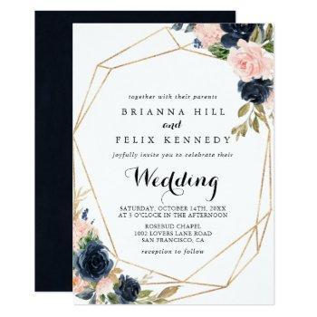 gold geometric winter floral front & back wedding invitation