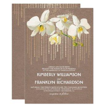 gold glam and white orchids vintage floral wedding invitation
