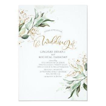 Small Gold Glitter Eucalyptus Greenery Elegant Wedding Front View