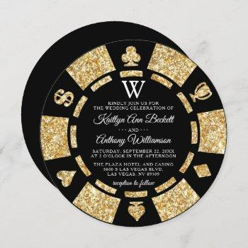 gold glitter monogram poker chip casino wedding invitation