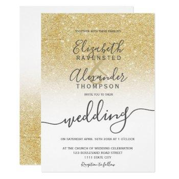 gold glitter ombre white script chic wedding invitation