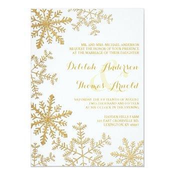 gold glitter snowflakes elegant winter wedding invitation
