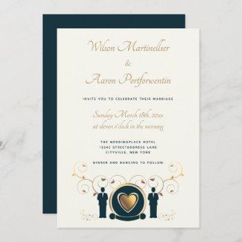 gold heart male wedding cream blue lgbtq invitation