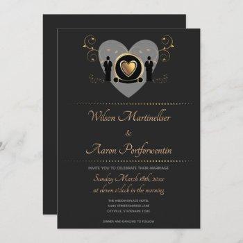 gold heart male wedding | invitation