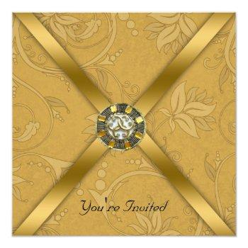 gold jeweled party invitation
